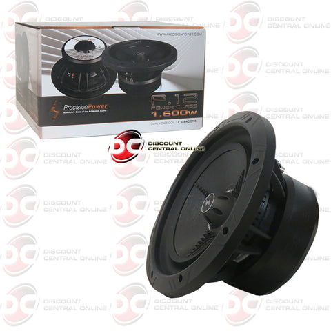 "PRECISION POWER P.12D2 12"" (800 WATTS RMS) DUAL 2-OHM CAR AUDIO SUBWOOFER (POWER CLASS SERIES)"
