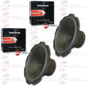 "TWO ROCKFORD FOSGATE PUNCH P1S4-15 500W MAX (250W RMS) 15"" SINGLE 4-OHM CAR SUBWOOFER (PUNCH P1 SERIES)"
