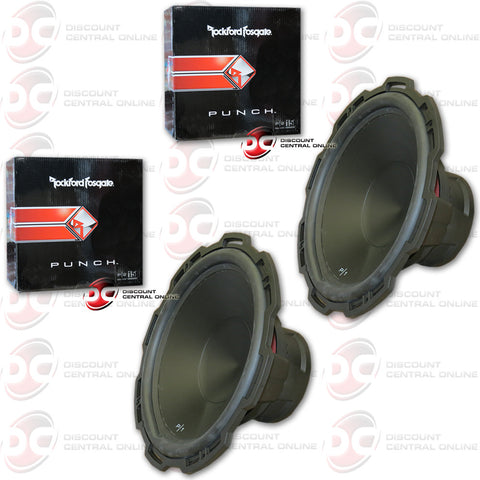 "2 x ROCKFORD FOSGATE PUNCH P1S4-15 500W MAX (250W RMS) 15"" SINGLE 4-OHM CAR SUBWOOFER (PUNCH P1 SERIES)"