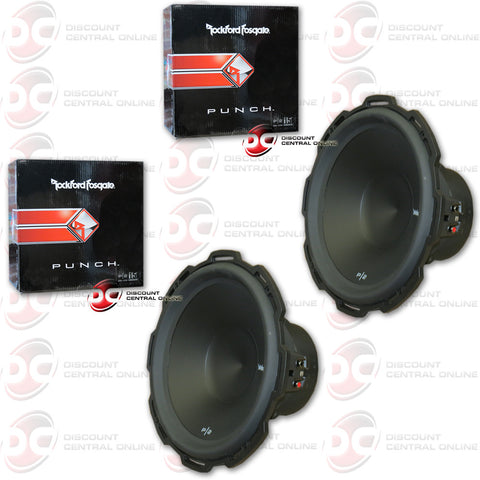 "2 X ROCKFORD FOSGATE PUNCH P2D2-15 800W MAX (400W RMS) 15"" DUAL 2-OHM CAR SUBWOOFER (PUNCH SERIES)"