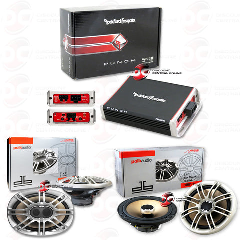 "ROCKFORD FOSGATE PBR300X4 CAR AUDIO 4-CHANNEL AMPLIFIER 300W RMS PLUS POLK-DB691 6X9""+POLK-DB651S 6.5"" SPEAKERS"
