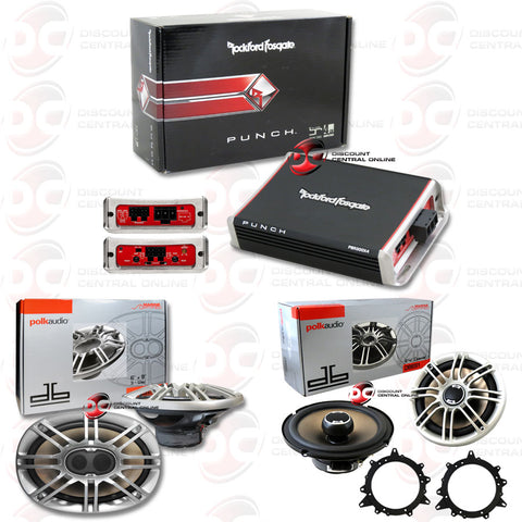 "ROCKFORD FOSGATE PBR300X4 CAR AUDIO 4-CHANNEL AMPLIFIER 300W RMS PLUS POLK-DB691 6X9""+POLK-DB651 6.5"" SPEAKERS"