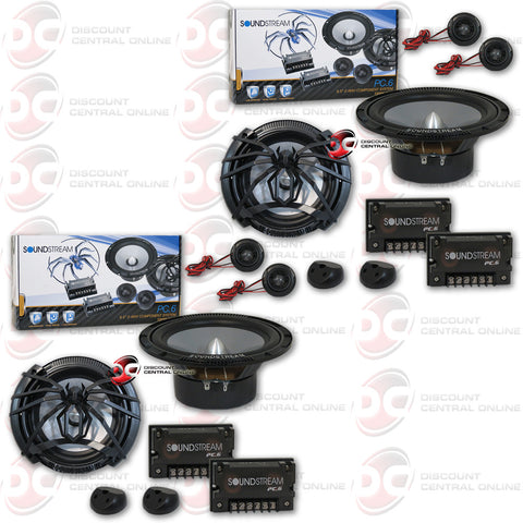 "4 x Soundstream PC.6 120W 6.5"" 2-Way Picasso Series Car Component Speakers"
