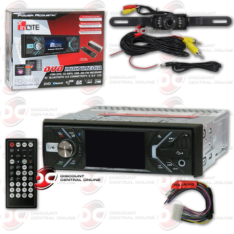 "Power Acoustik PD-348B 3.4"" Media Receiver with DVD/CD/MP3/AM/FM/ Bluetooth Compatibility (With Back-up Camera)"