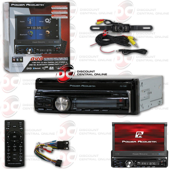 POWER ACOUSTIK PD-720B 1-DIN CD/DVD/AM/FM/BLUETOOTH CAR STEREO WITH 7