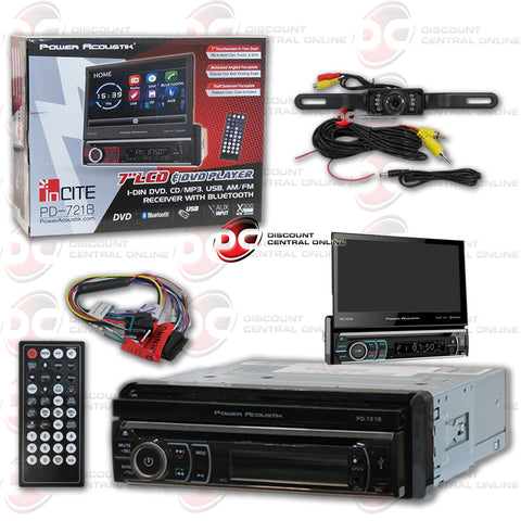 "Power Acoustik PD-721B 7"" Media Receiver with CD/MP3/AM/FM/Bluetooth and Flip-Out Display (With Back-Up Camera)"