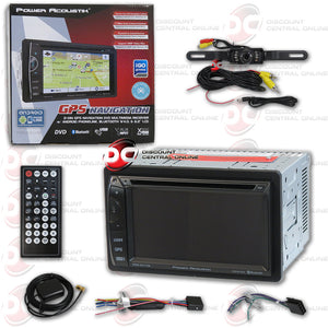 "Power Acoustik PDN-621HB 6.2"" Media Receiver with USB/AUX/CD/MP3/DVD/GPS/Bluetooth Capability and Black License Plate Camera"