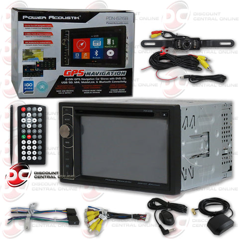 "Power Acoustik 2DIN PDN-626B 6.2"" Car GPS DVD CD Receiver with Bluetooth (with Back-up Camera)"