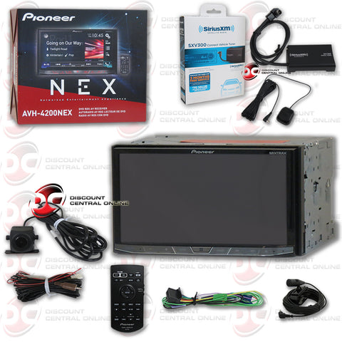 "PIONEER AVH-4201NEX 7"" TOUCHSCREEN MULTIMEDIA RECEIVER WITH DVD/AM/FM/AUX/BLUETOOTH CAPABILITY AND PIONEER REAR VIEW CAMERA WITH SIRIUS XM CONNECT SXV300V1 TUNER FOR SATELLITE RADIO"
