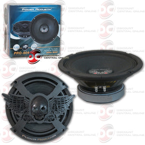 "2 x POWER ACOUSTIK PRO-804 8"" PRO-AUDIO MID-RANGE WOOFER BASS DRIVER"