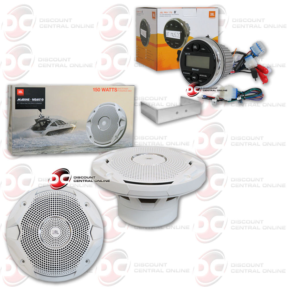 "JBL MS6510 300W 6-1/2"" MS Series Dual Cone Marine Speakers and JBL Gauge Style Marine AM/FM MP3 USB Bluetooth Receiver"