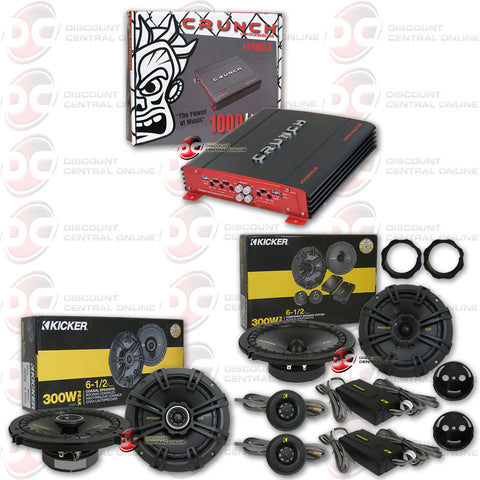 "CRUNCH 1000.4 (PX1000.4) 1000W POWERX SERIES 4-CHANNEL BRIDGEABLE CAR AUDIO AMPLIFIER + KICKER 40CS654 6-1/2"" 2-WAY CAR SPEAKERS + KICKER 41DSC6934 6""X9"" 3-WAY SPEAKERS"