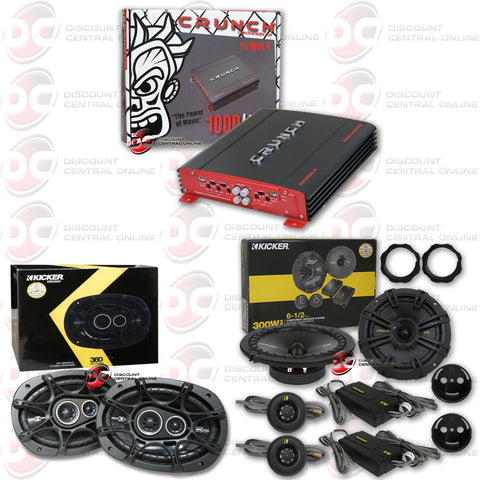 "CRUNCH 1000.4 (PX1000.4) 1000W POWERX SERIES 4-CHANNEL BRIDGEABLE CAR AUDIO AMPLIFIER + KICKER 40CSS654 6-1/2"" COMPONENT SPEAKER SYSTEM + KICKER 41DSC6934 6""X9"" 3-WAY SPEAKERS"