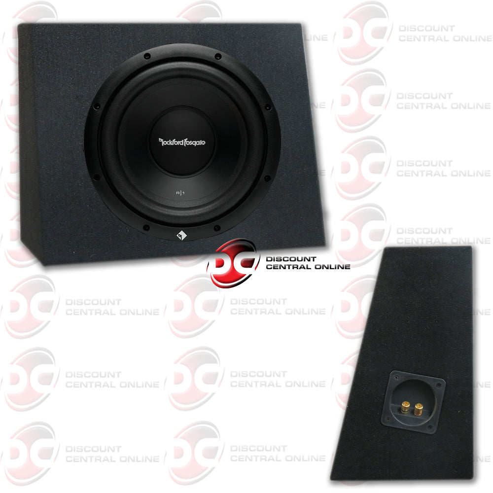 "ROCKFORD FOSGATE R1S4-10 10"" (200W RMS) SINGLE 4 OHM CAR SUBWOOFER (R1 PRIME SERIES) PLUS ANGLED SUBWOOFER BOX"