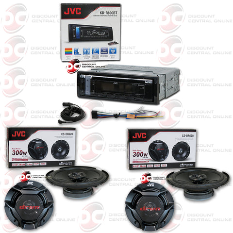 "JVC KD-R890BT Single Din Car Audio AM/FM/CD/AUX With Bluetooth Plus 4 X 6.5"" Coax Speakers"