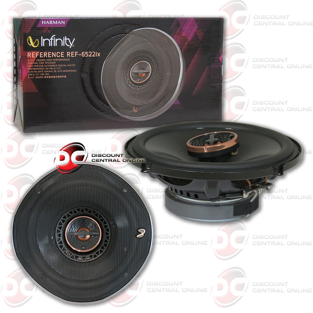 "INFINITY REF-6522IX 180W 6-1/2"" REFERENCE SERIES COAXIAL CAR SPEAKERS WITH EDGE-DRIVEN, TEXTILE TWEETERS"