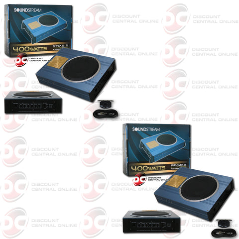 "Soundstream RFM8.2 Car 8"" Sub Woofer Enclosure Pre-loaded Built In Amplifier (Pair)"
