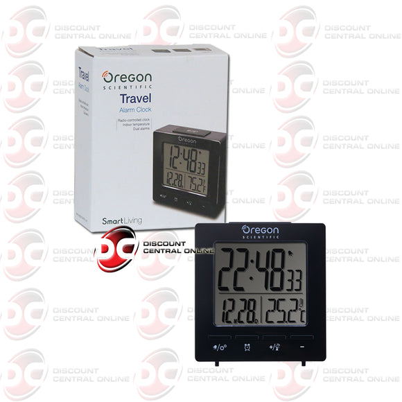 Oregon Scientific RM511 Travel Alarm Clock Indoor Temperature Time & Date-Black