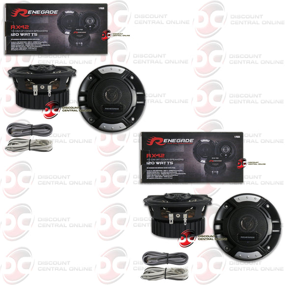 RENEGADE RX42 4-INCH 2-WAY CAR AUDIO COAXIAL SPEAKERS (2 PAIRS)