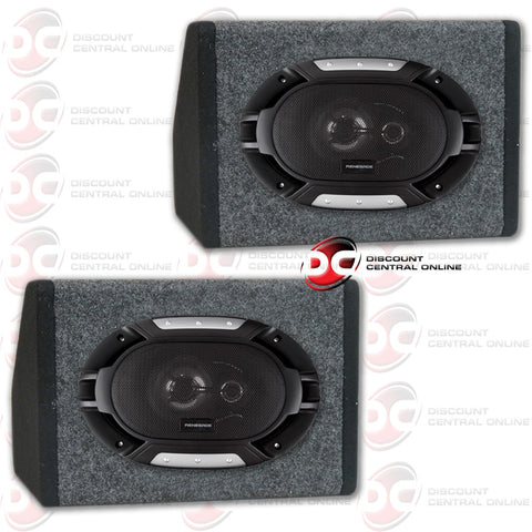 "Renegade RX693 6x9"" Car Audio Speakers (RX Series) and 2 Curved Housing Speaker Boxes"