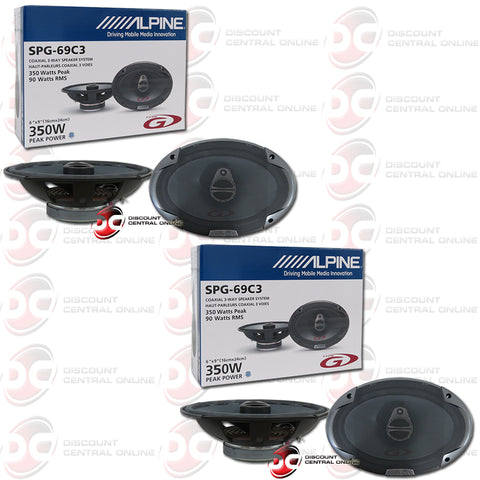 "Alpine SPG-69C3 6""x 9"" 3-Way Car Audio Coaxial Speakers (2 Pairs)"