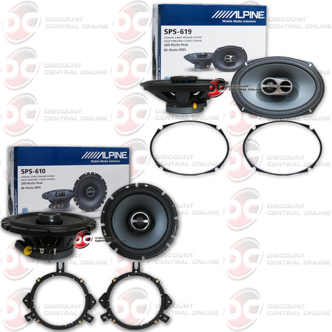 "Alpine SPS-619 6x9"" Car Audio Speakers Plus Alpine SPS-610 6.5"" 2-Way Car Audio Speakers"