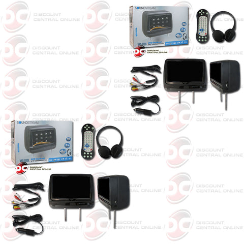 "2X SOUNDSTREAM VHD-99BK 9"" LCD TOUCH SCREEN W/UNIVERSAL DVD HEADREST+HEADPHONE (BLACK)"