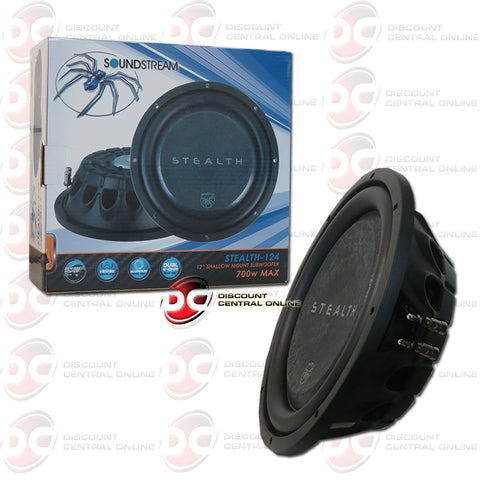 "SOUNDSTREAM STEALTH-124 12"" DUAL 4 OHM CAR AUDIO SHALLOW MOUNT SUBWOOFER (STEALTH SERIES)"