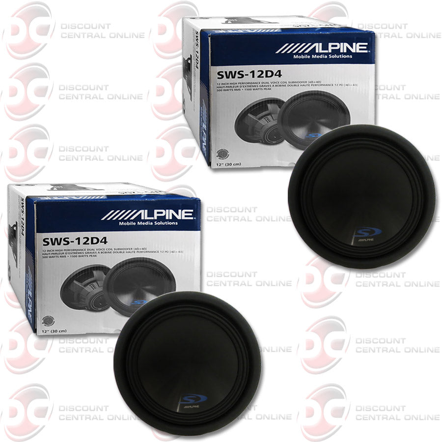 "2X ALPINE SWS-12D4 12"" 1500W MAX (500 RMS) DUAL 4-OHM CAR AUDIO SUBWOOFER"