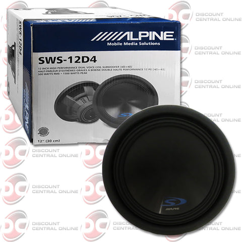 "Alpine SWS-12D4 Type S 12"" Dual 4-Ohm Car Audio Subwoofer"