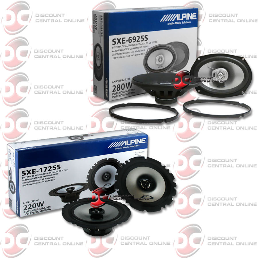 "Alpine SXE-1750S 6.5"" 2-way Component System & Alpine SXE-6925S 6x9"" Car Audio Speakers"