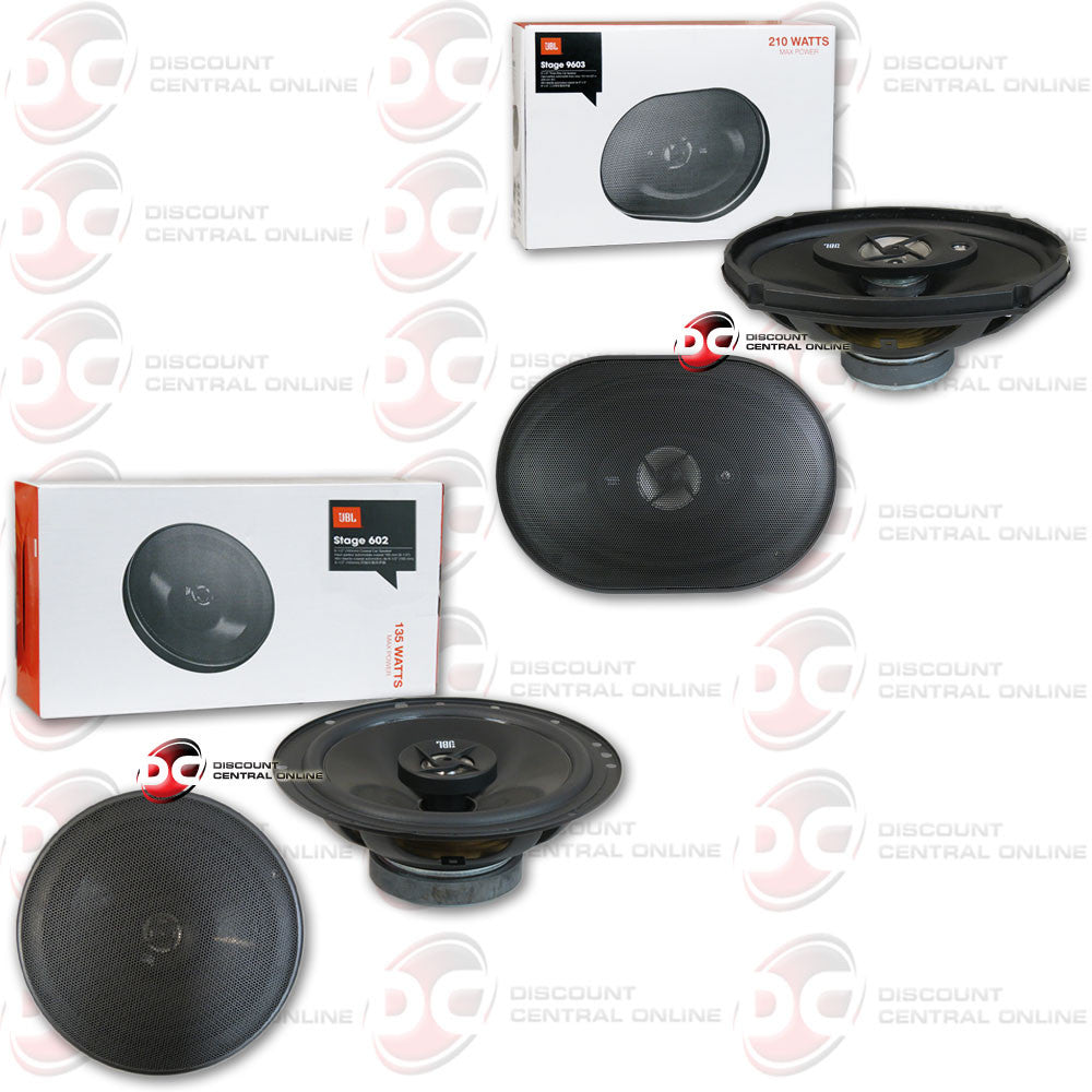 "JBL Stage 602 6-3/4"" 2-way speakers and JBL Stage 9603 6""x9"" 3-way speakers"
