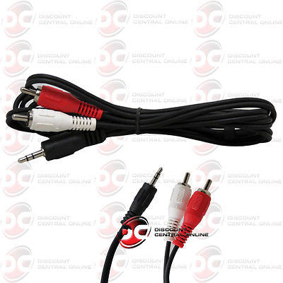 6 FEET 3.5MM STEREO TO 2 RCA CABLE SUPPORTS & CONNECTS TO LEFT & RIGHT SPEAKER