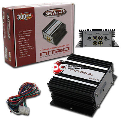 NEW SMALL SIZE NITRO BMWX-43 BRIDGEABLE 4-CHANNEL CAR AUDIO AMPPLIFIER 300W