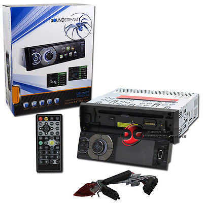 "SOUNDSTREAM SINGLE DIN MULTIMEDIA DVD/CD STEREO W/ 3.4"" LCD SCREEN & ANALOG TV"