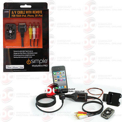 ISIMPLE IS76PRO UNIVERSAL IPOD & IPHONE AUDIO/ VIDEO CABLE W/ WIRELESS REMOTE