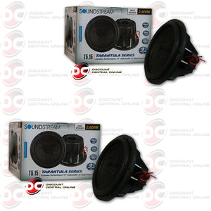 "2X SOUNDSTREAM T5.154 15""2600W (1300RMS) DUAL 4-OHM CAR SUBWOOFER (TARANTULA SERIES)"