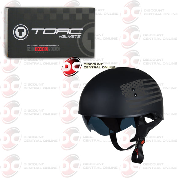 TORC T55 HALF SHELL MOTORCYCLE HELMET (FLAG BLACK)