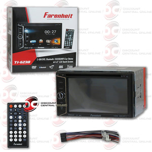 "Farenheit TI-623B 2 Din In-Dash 6.2"" Car Monitor DVD/SD/USB Bluetooth Receiver"