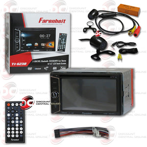 "Farenheit TI-623B 2 Din In-Dash 6.2"" Car Monitor DVD/SD/USB Bluetooth Receiver + 170° REAR CAMERA"