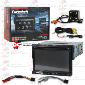 "FARENHEIT TI-710B 7"" CAR AUDIO MULTIMEDIA RECEIVER WITH AM/FM/CD/DVD/BLUETOOTH & IPOD CONTROL+REAR VIEW CUBED CAMERA"