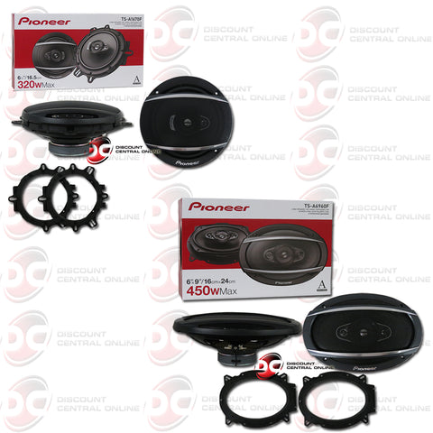"Pioneer TS-A1670F 6.5"" 3-way Car Audio Speakers Plus 6"" X 9"" 4-way Car Audio Speakers"