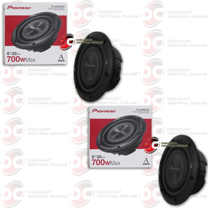 "TWO PIONEER TS-A2000LD2 8"" SHALLOW MOUNT DUAL 2-OHM CAR SUBWOOFER"