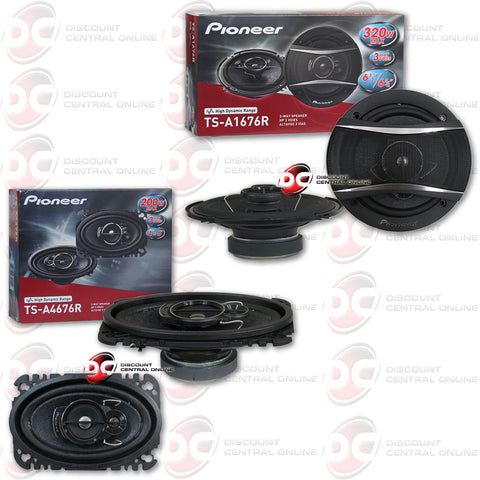 "Pioneer TS-A1676R 6.5"" 3-way Car Coaxial Speakers + TS-A4676R 4x6"" 3-way Car Speakers"