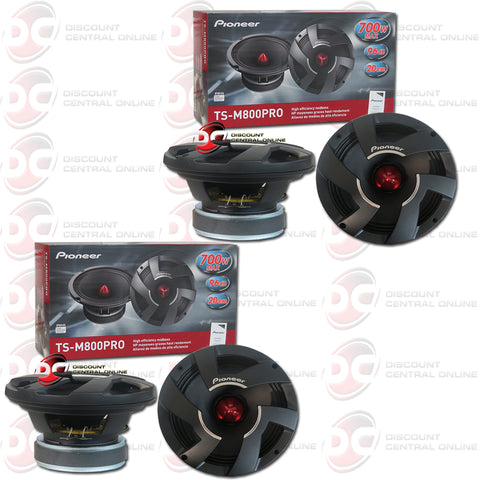 "2x Pioneer TS-M800PRO 8"" Car Audio Mid Bass Speaker Driver Pro Series"