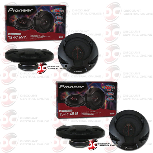 Pioneer TS-R1651S 6.5-inch Car Audio 3-way Coaxial Speakers (2 Pairs)