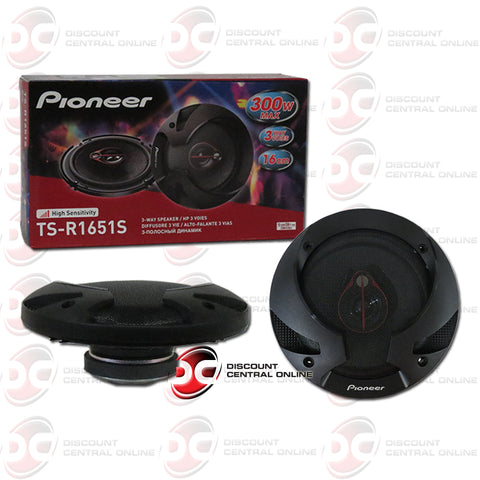 Pioneer TS-R1651S 6.5-inch Car Audio 3-way Coaxial Speakers (Pair)