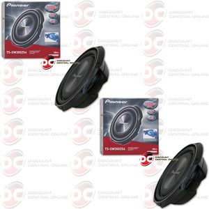 "TWO PIONEER TS-SW3002S4 12"" SINGLE 4 OHM SHALLOW MOUNT CAR SUBWOOFER"