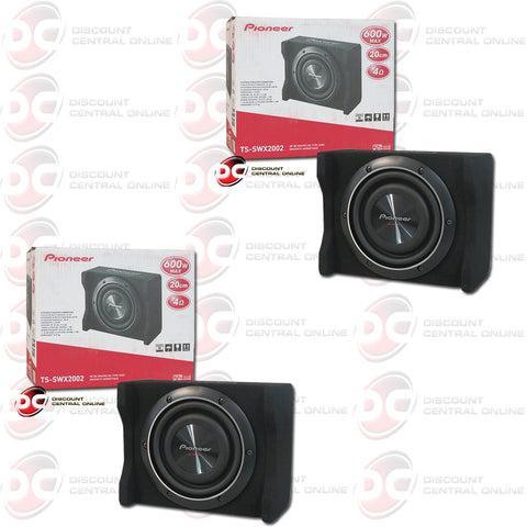 "2x Pioneer TS-SWX2002 8"" Shallow Mount Car Enclosure Subwoofer"