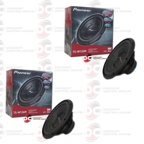 "2X PIONEER TS-W126M 12"" (300W RMS) SINGLE 4-OHM CAR AUDIO SUBWOOFER (CHAMPION SERIES)"
